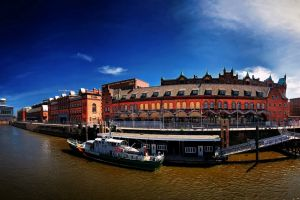 cityscape river boat hamburg