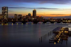 cityscape sunset boston