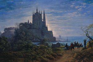 classic art coast carriage painting dirt road castle horse