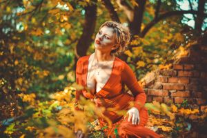 cleavage women fall outdoors women outdoors
