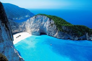 cliff greece bay landscape sea aerial view beach