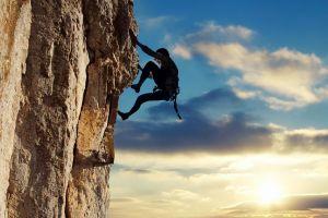 climbing sport  clouds rock