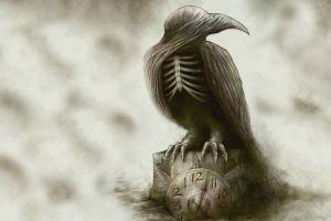 clocks sepia fantasy art birds animals bones simple background sounds of a playground fading