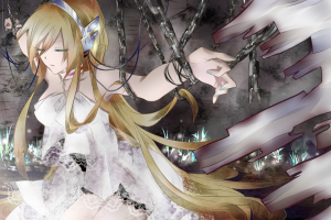 closed eyes anime girls chains anime