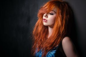 closed eyes open mouth redhead portrait women lipstick piercing pierced nose face nose rings