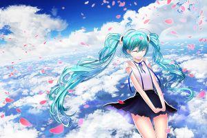 clouds anime anime girls hatsune miku