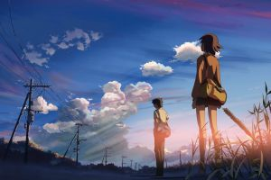 clouds anime girls makoto shinkai  sunlight anime boys power lines students 5 centimeters per second anime utility pole