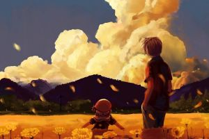 clouds anime sky anime girls flowers clannad nature