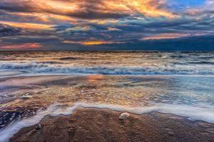 clouds beach sea sunset sky