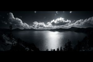 clouds black white nature landscape lake