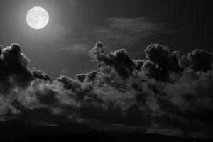clouds dark moon sky