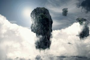clouds digital art fantasy art nature sky abstract floating rock