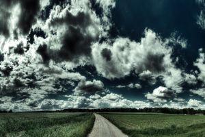 clouds digital art landscape road hdr sky field