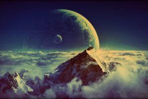 clouds digital art space art landscape mountains nature planet