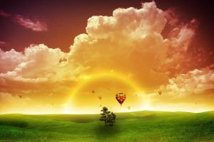 clouds fantasy art digital art colorful hot air balloons landscape sky