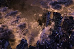 clouds futuristic city science fiction