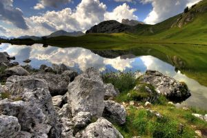 clouds mountains lake landscape sky reflection nature rock