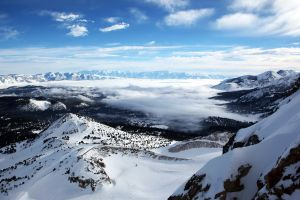 clouds mountains landscape snow tundra cold nature