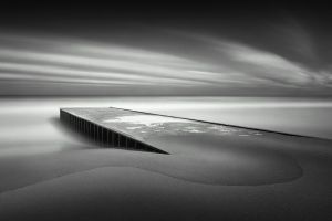 clouds nature gray wooden surface landscape monochrome sea minimalism horizon water coast beach pier long exposure sand