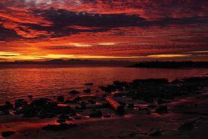clouds nature sunset sea landscape beach sunlight sky