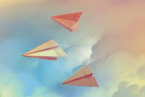 clouds paper planes paperplanes artwork sky paper