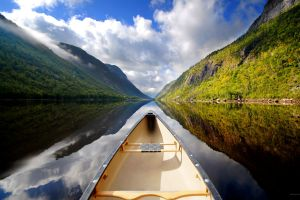 clouds reflection water boat river landscape