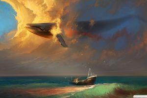 clouds sky boat sea whale surreal fantasy art