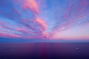 clouds sky sea boat