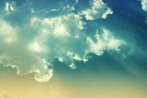 clouds sun rays sky nature