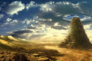 clouds tower of babel artwork fantasy art tower sky