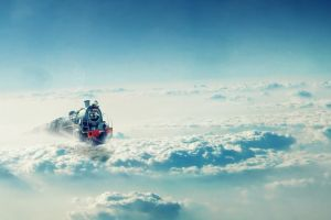 clouds train vehicle artwork fantasy art flying
