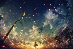 clouds trees anime warning signs hatsune miku sunset