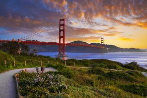 clouds usa sky golden gate bridge landscape