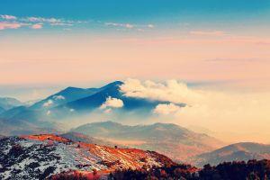 clouds winter blue mountains orange environment landscape nature