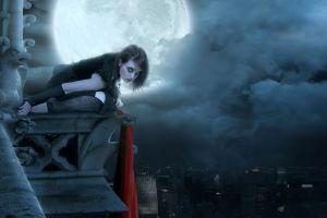 clouds women moon artwork fantasy girl gothic cityscape