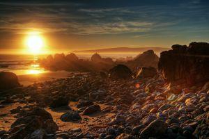 coast landscape beach sunlight sunset rock