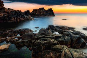 coast rock nature water sea sky