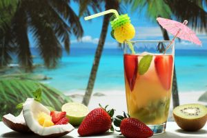 cocktails strawberries tropical coconuts kiwi (fruit) fruit drink trees