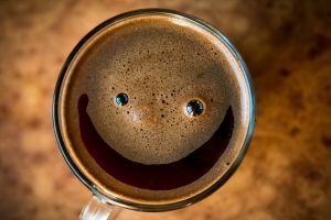 coffee top view smiling