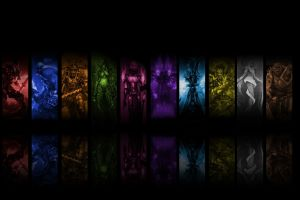 collage digital art black world of warcraft reflection world of warcraft video games colorful