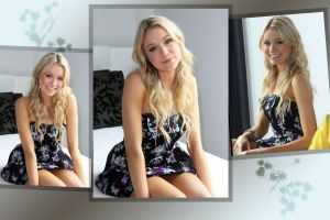 collage dress looking at viewer model blonde katrina bowden smiling women