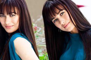 collage olga kurylenko model brunette green eyes smiling actress women