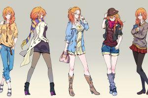 collage simple background anime redhead anime girls ryuuzaki itsu  original characters