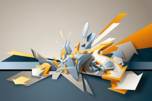 colorful abstract yellow shapes artwork digital art blue arrows (design) gray arrows