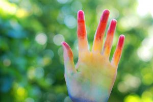 colorful blurred fingers hands