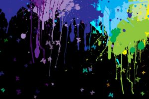 colorful butterfly multiple display paint splatter artwork