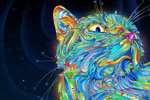 colorful cats animals matei apostolescu digital art psychedelic
