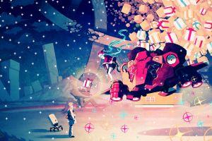 colorful hatsune miku christmas night vocaloid anime anime girls fan art