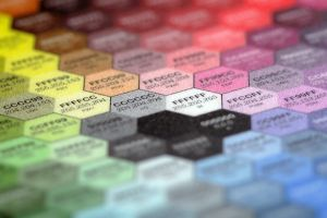 colorful hexagon color codes blurred