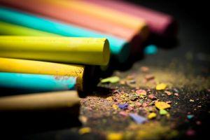 colorful macro crayons